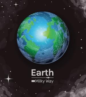 Aarde wereld bol melkweg stijl pictogram ontwerp