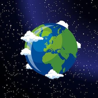 Aarde wereld vanuit de ruimte vectorillustraties
