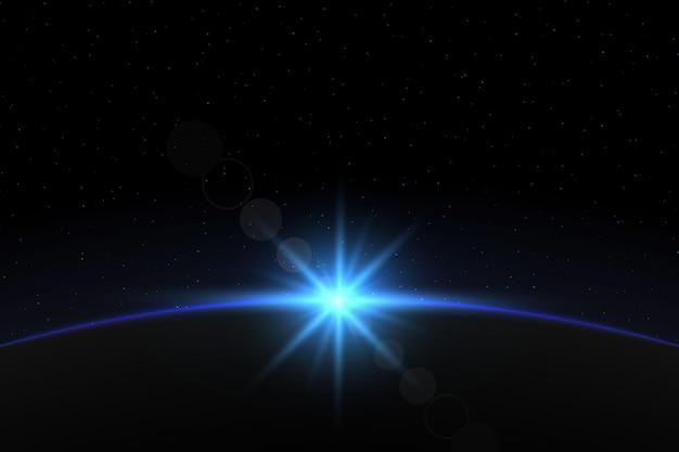 Aarde zonsopgang. globe horizon-sfeer