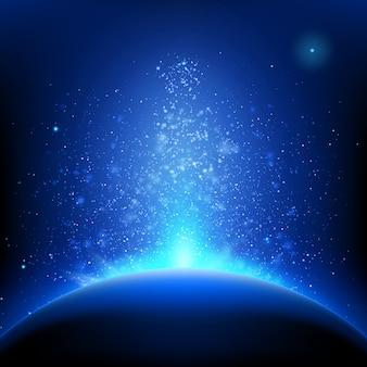 Aarde - zonsopgang in diepblauwe ruimte.