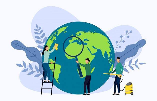 Aardedag met wereldillustratie