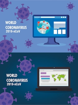 Aardekaarten met covid19-deeltjes in laptop