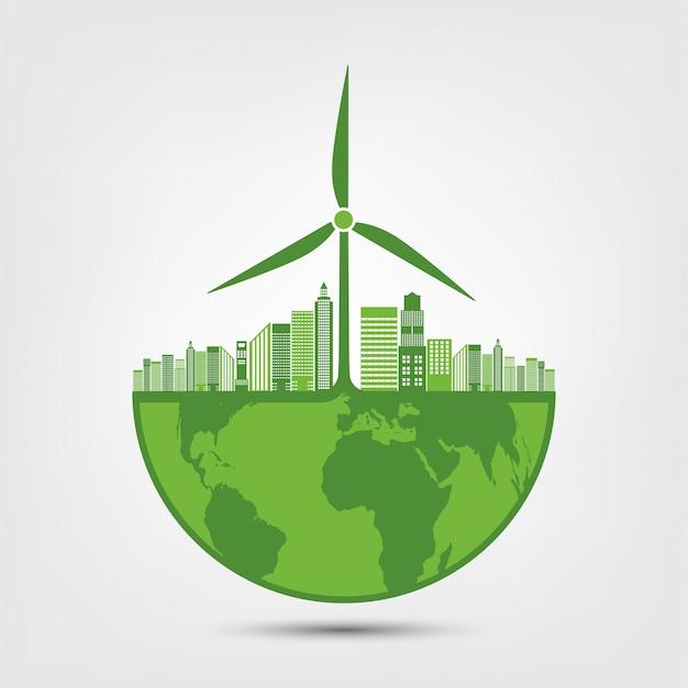Aardesymbool met groene bladeren rond steden helpen de wereld met milieuvriendelijke ideeën
