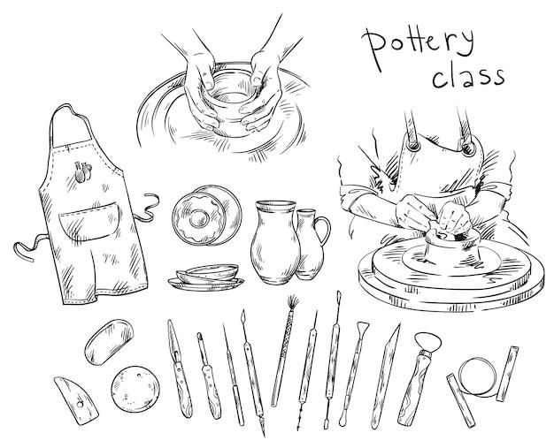 Aardewerk klasse. gereedschappen en instrumenten voor het maken van aardewerk, pottenbakkersschijf