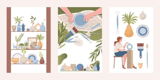 Aardewerk winkel handgemaakte klei gebruiksvoorwerp vector vlakke afbeelding vazen potten Premium Vector