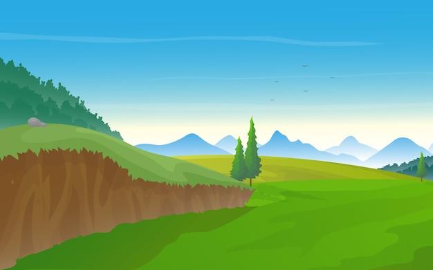 Aardlandschap met groene weide, heuvels en rij van bergen.