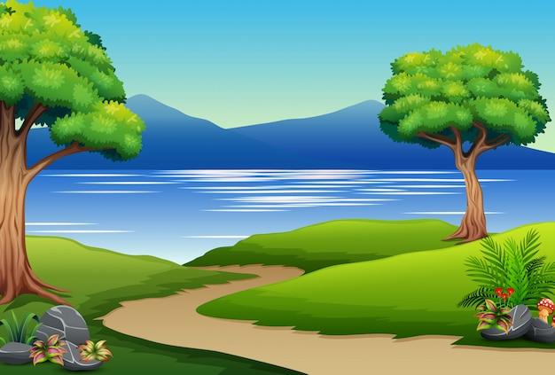 Aardlandschap met rivier en berg