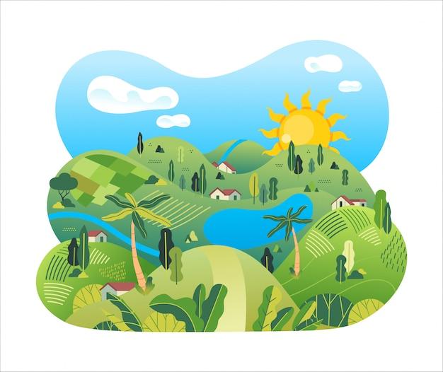 Aardlandschap van platteland met padieveld, huizen, meer, bomen en mooie landschaps vectorillustratie
