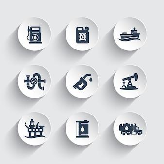 Aardolie-industrie iconen set, benzinestation, benzine bus, benzine mondstuk, olieproductie platform vector pictogrammen