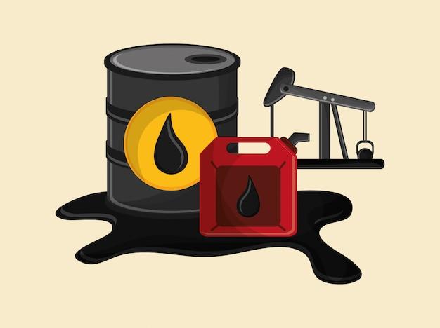 Aardolie-olie-extractie en verfijning gerelateerde pictogrammen afbeelding
