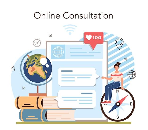 Aardrijkskunde klasse online service of platform. het bestuderen van de landen, functies