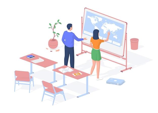 Aardrijkskundeles geven. tiener op zoek naar een wereldkaartstandaard. de leraar vertelt haar over de coördinaten van de aarde. schoolbanken met leerboeken en tekeningen. vector realistische isometrie.
