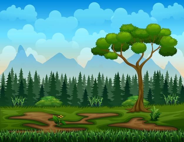 Aardscène met boomlandschap