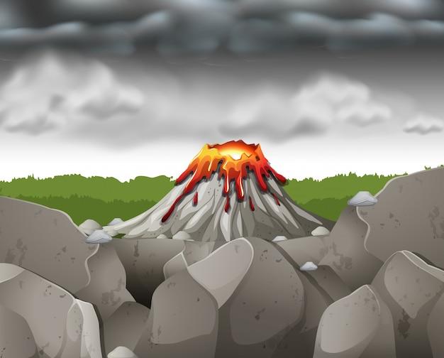 Aardscène met donkere hemel over vulkaan