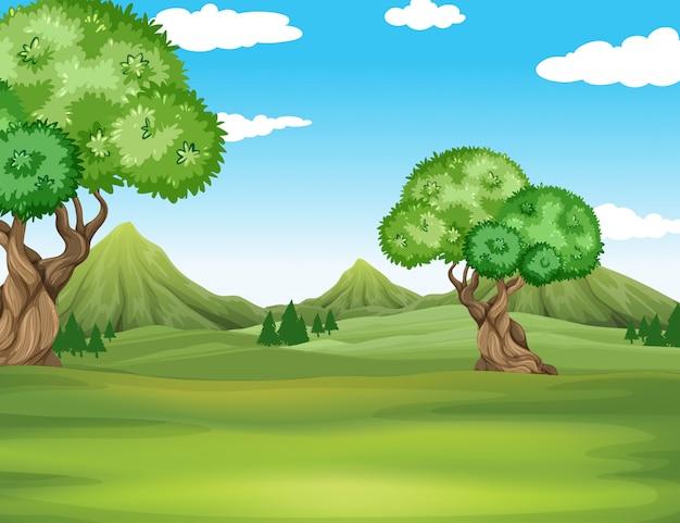Aardscène met gebied en bomenachtergrond