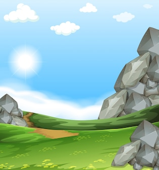 Aardscène met gebied en stenen