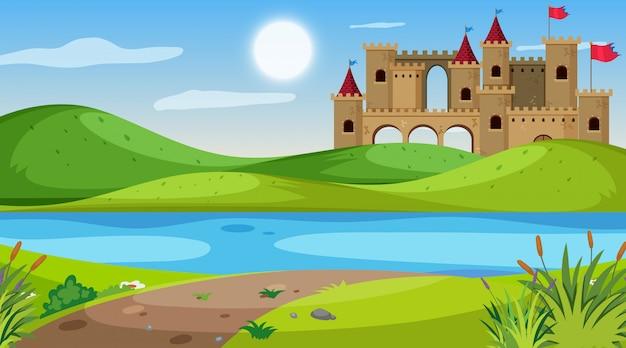 Aardscène met kasteel op het gebied