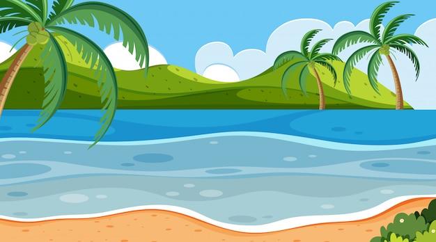 Aardscène met kleine heuvels en oceaan
