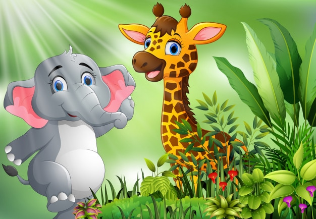Aardscène met olifant en giraffebeeldverhaal