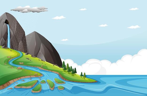 Aardscène met water valt van stenen klif