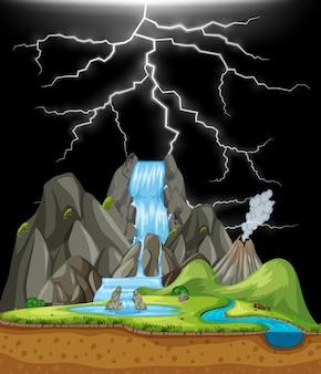 Aardscène met waterval