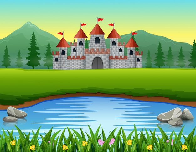 Aardscène voor de kasteelachtergrond