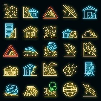 Aardverschuiving pictogrammen instellen. overzicht set van aardverschuiving vector iconen neon kleur op zwart