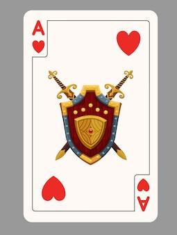Aas van harten speelkaart