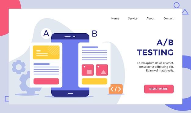 Ab test draadframe op smarphone-schermcampagne voor de startpagina van de startpagina van de website