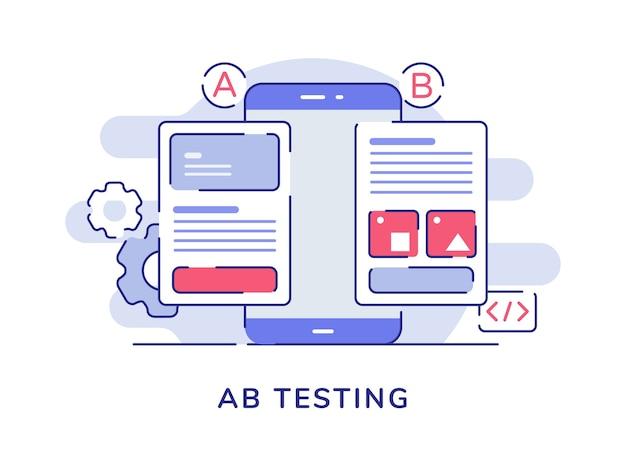 Ab-testconcept ab-vergelijking gesplitste draadframe-applicatie op het smartphonescherm met platte omtrekstijl