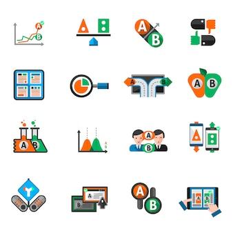 Ab testen icons set