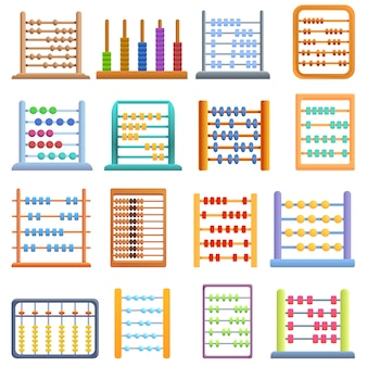 Abacus iconen set, cartoon stijl