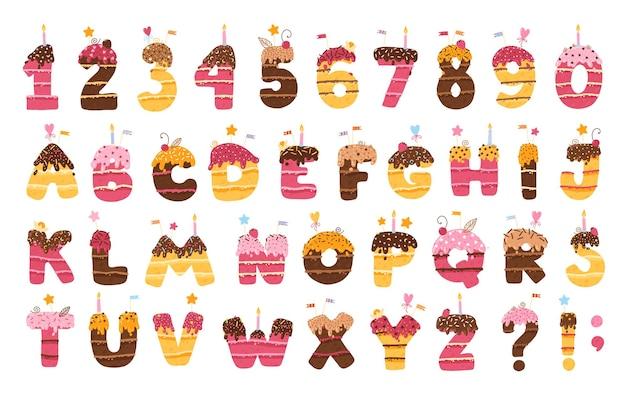 Abc-alfabet en cijfers verjaardagstaart met chocoladesuikerglazuur en decors