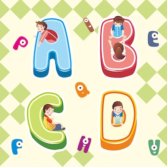 Abc alfabet pictogram, kind spelen binnen alfabet abc pictogram illustratie