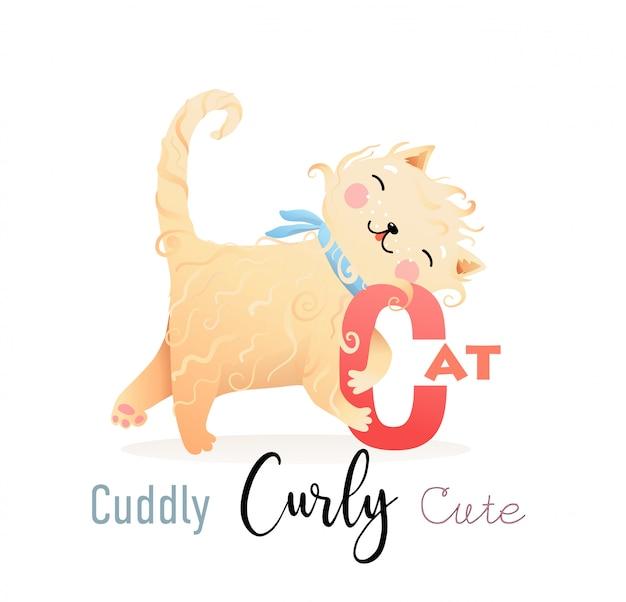Abc alphabet for kids cat is voor c