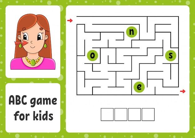 Abc doolhof voor kinderen. antwoord neus. rechthoek labyrint. activiteit werkblad.