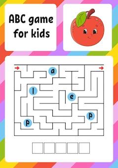 Abc-doolhof voor kinderen rechthoeklabyrint