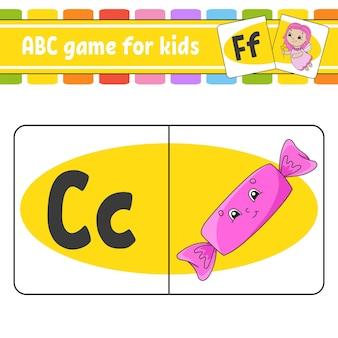 Abc-flashkaarten alfabet voor kinderen letters leren onderwijswerkblad