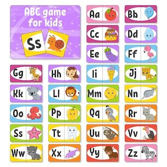 Abc-flashkaarten instellen alfabet voor kinderen