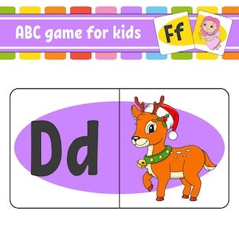 Abc-flitskaarten. alfabet voor kinderen. letters leren.