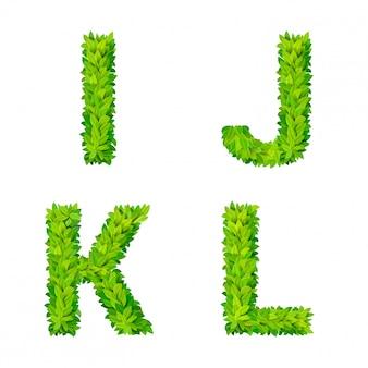Abc gras laat letter nummer elementen moderne natuur plakkaat belettering blad bladverliezende set. ijkl leaf leafed foliated natural letters latin english alphabet font collection.