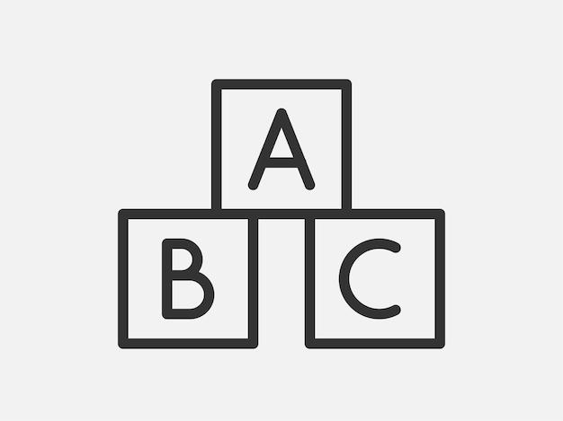 Abc kubussen speelgoed pictogram op witte achtergrond. lijn stijl vectorillustratie.
