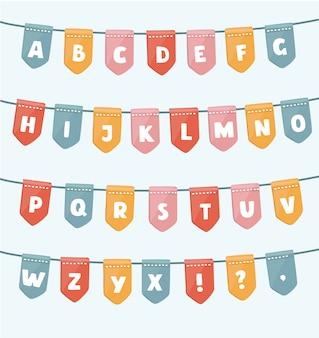 Abc met feestvlaggen. handgemaakt lettertype. slim gegroepeerd en gelaagd.