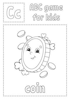 Abc-spel voor kinderen. alfabet kleurplaat. Premium Vector