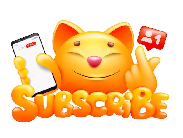 Abonneer knop met grappige gele kat stripfiguur met smartphone.
