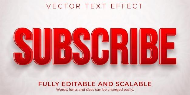 Abonneer knop teksteffect, bewerkbaar rood en speel tekststijl