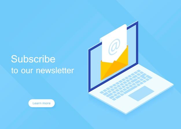Abonneer op onze nieuwsbrief. isometrische laptop met nieuwsbrief in open envelop. moderne vectorillustratie in isometrische stijl