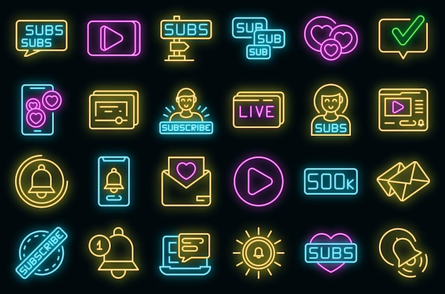 Abonneer pictogrammen instellen. overzicht set van abonnement vector iconen neon kleur op zwart