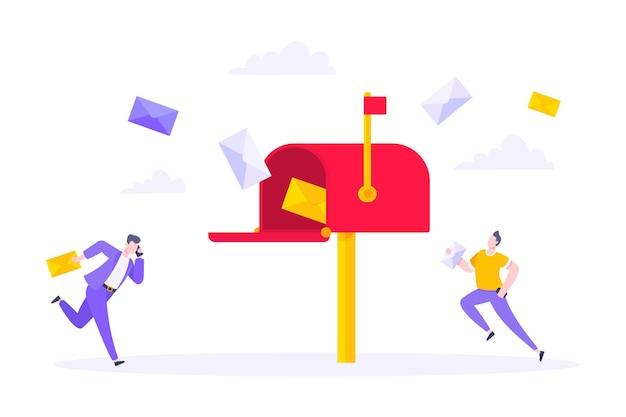 Abonneer u nu op onze nieuwsbriefvectorillustratie met kleine mensen die naar de mailbox rennen