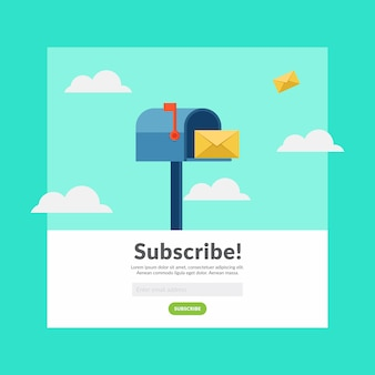 Abonneer u op e-mail platte ontwerp vectorillustratie